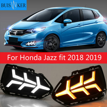 2pcs For Honda Jazz fit 2018 2019 LED Daytime Running Lights DRL Fog lamp cover with Yellow turning signal lights