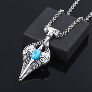 The Elder Scrolls Necklace Dinosaur Triang Dragon Amulet of Mara Pendant Chokers Cosplay Jewelry image