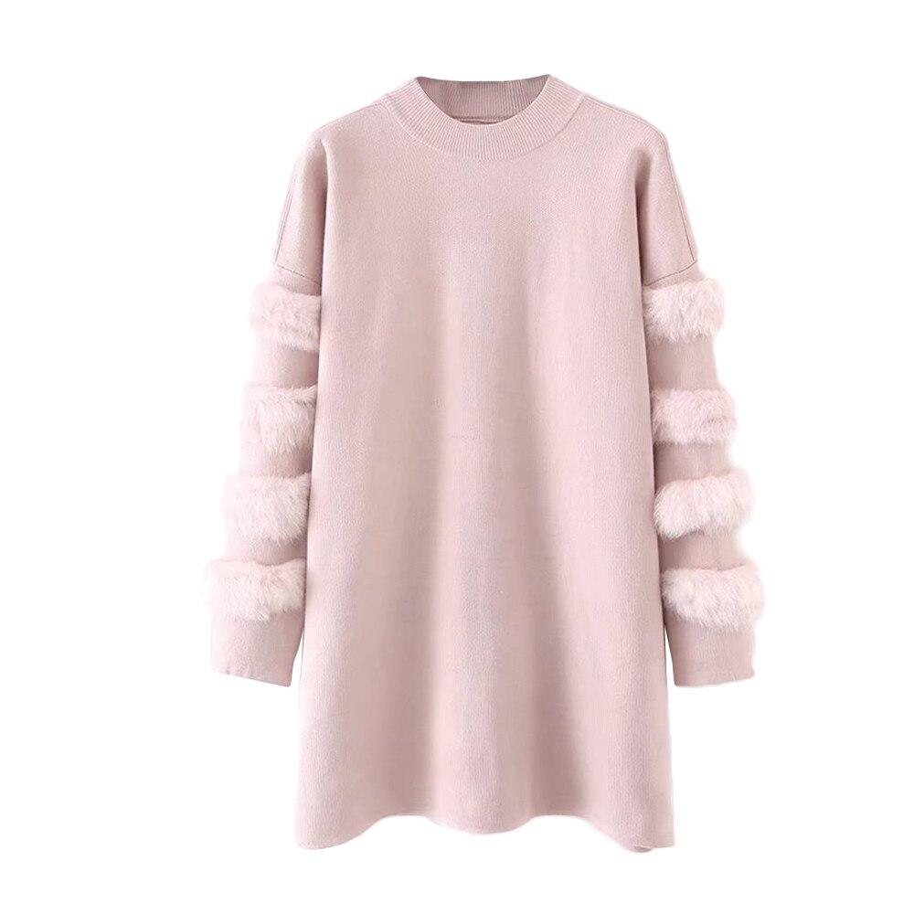 SAGACE Warm Sweaters Pullover Knitted Oversized Rabbit-Fur Jumper Women Winter