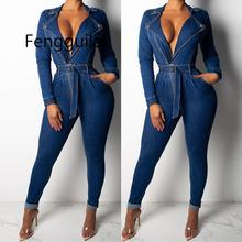 2019 Denim Jumpsuit Women Long Sleeve Front Zipper Jeans Rompers Women Jumpsuit With Sashes  Plus Size Belted Streewear Overalls цены