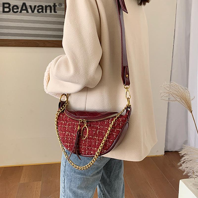 BeAvant  Elegant Pu Leather Shoulder Bag Women Belted Zippers Suede Plaid Female Messenger Bag Strap Chain Ladies Dumpling Bags