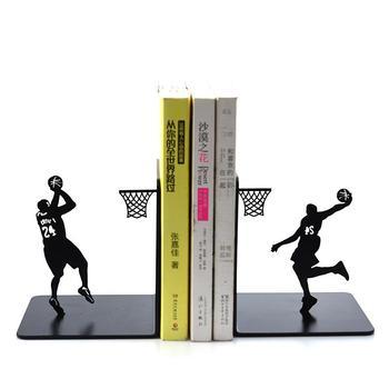 الإبداعية المعادن الدفتين حامل كتب رف الكتب حامل بسيط موضة 24 كرة السلة مروحة الطلاب الصبي هدية عيد ميلاد منظم مكتب