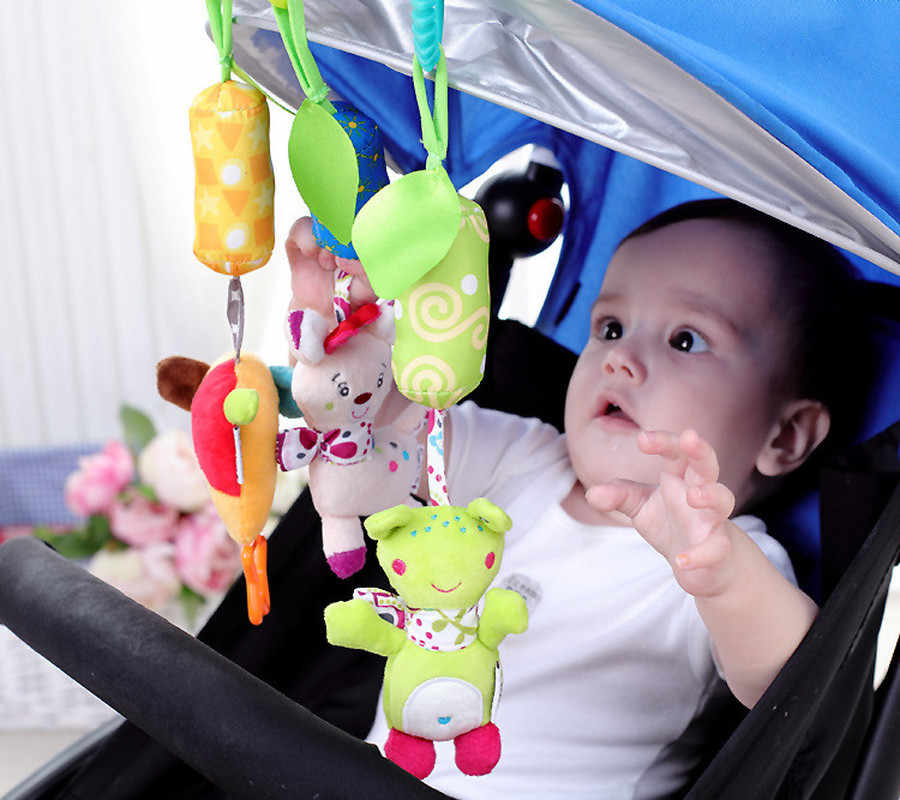 Rattle Toys For Baby Cute Frog Elephant Owl Cat Stroller Toy Rattles Mobile For Baby Trolley 0-12 Months Infant Bed Hanging Gift
