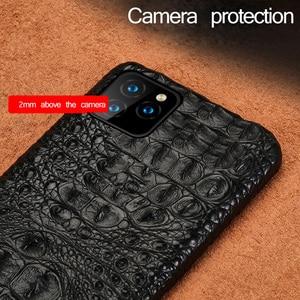 Image 5 - תנין אמיתי עור מקרה עבור Iphone 11 פרו מקסימום 11 מקורי עור חזרה כיסוי עבור iphone 12 פרו מקס xs max xr coque fundas