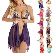 Sous-vêtements érotiques en dentelle transparente pour femmes, Lingerie Sexy, pyjama, vêtements de nuit + string, Costumes, robe sexuelle