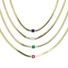 Collier Baguette colorée arc-en-ciel en zircon cubique pour femmes, bijou ras du cou de 4MM de large en os de serpent, nouvelle mode