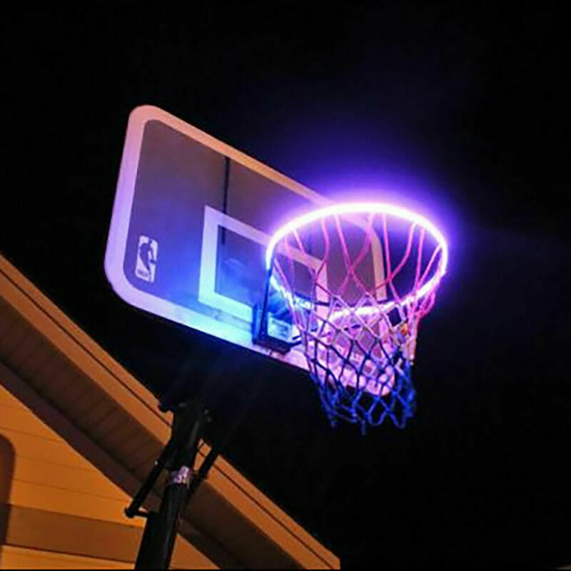 LED Solar Sensor-Activated Light Strip Basketball Hoop Rim Attachment Helps Shoot At Night Lamp