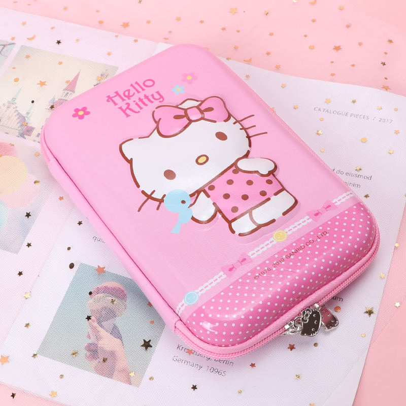 3D Hello Kitty Pencil Case EVA Double Zip Large Size Odorless Girl Multi Function School Toy Pencil Box