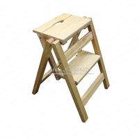 30%B Household multi function folding ladder stool solid wood ladder ascending platform step stool dual purpose rack stair chair