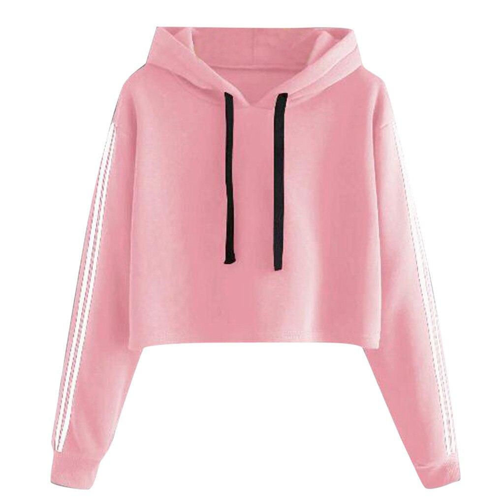 Kurze Sweatshirts Harajuku Solide Lace Up Crop Top Frauen Herbst Streetwear Langarm Mit Kapuze Mantel Kordelzug Sweat Shirt Haube