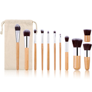 Image 2 - 11PCs Natural Bamboo Makeup Brushes Set High Quality Foundation Blending Women Beauty Cosmetic Make Up Tool Set With Cotton Bag