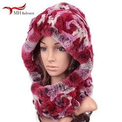 Ma'am Season Leather And Fur Rex Rabbit's Hair Hats Scarf One Scarf Earmuffs Keep Warm Hats