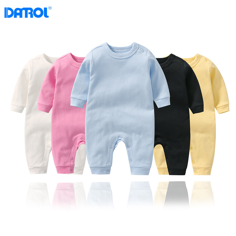 DANROL Baby Solid Color Jumpsuit Long Sleeve Baby Boy Girl Jumpsuit Newborn Cotton Pullover Bodysuit Baby Girl Infant Soft Suit
