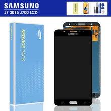 Pantalla LCD 100% probada para Samsung Galaxy J7 2015 J700 J700F J700H J700M, montaje de digitalizador con pantalla táctil, piezas de repuesto