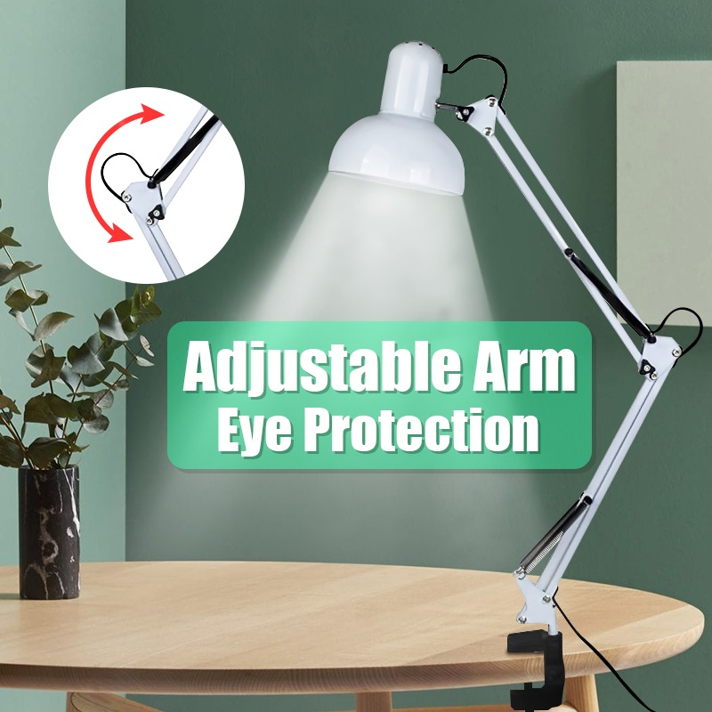 Ac110 240v Adjustable Flexible Swing Arm Desk Lamp Clamp On Study Artist Drafting Design Office Studio Clamp Table Light White Table Lamps Aliexpress