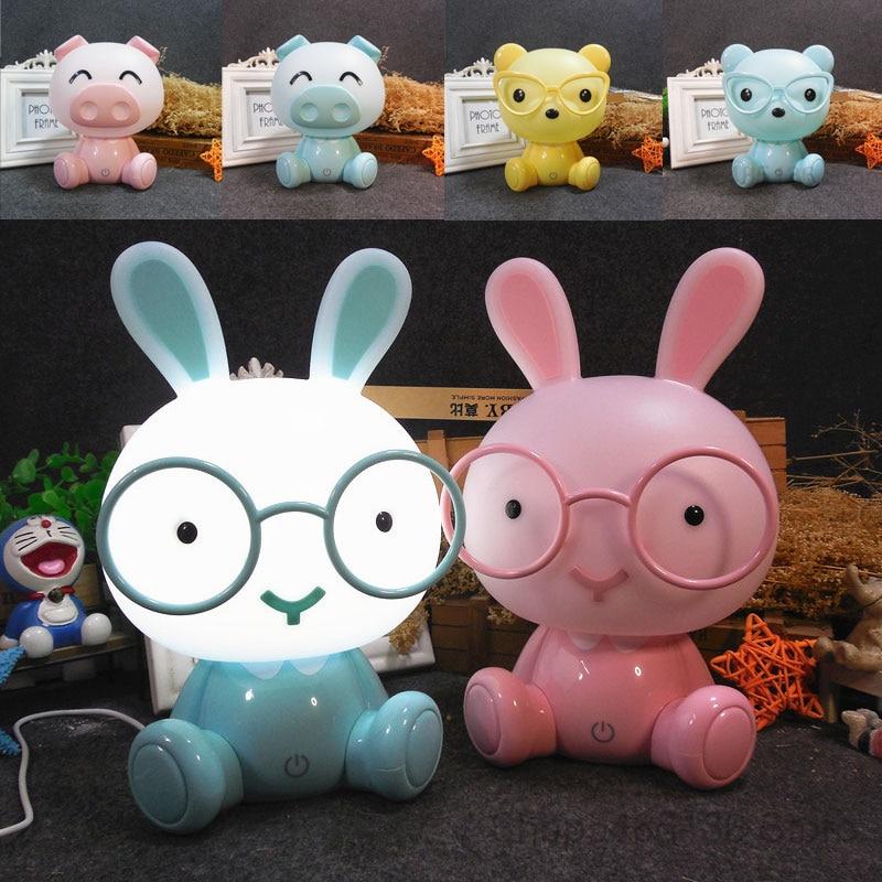Rabbit Lamp Baby Night Lights Pig Bear Led Night Lamp Bedroom Cartoon Animal Table Lamp Kids Birthday Christmas Gifts Home Decor