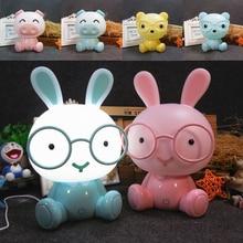 Rabbit Lamp Baby Night Lights Pig Bear Led Night Lamp Bedroom Cartoon Animal Table Lamp Kids