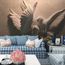 Custom wallpaper 3D stereo photo murals embossed flying pigeon papel de parede TV background wall painting mural 3d