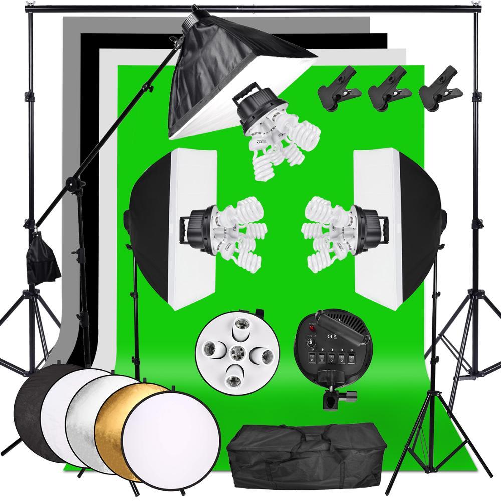 ZUOCHEN 3375W Studio Photo kit d'éclairage continu bras de flèche Softbox 4 arrière-plan et Support avec Kit de Support de toile de fond 2*3M