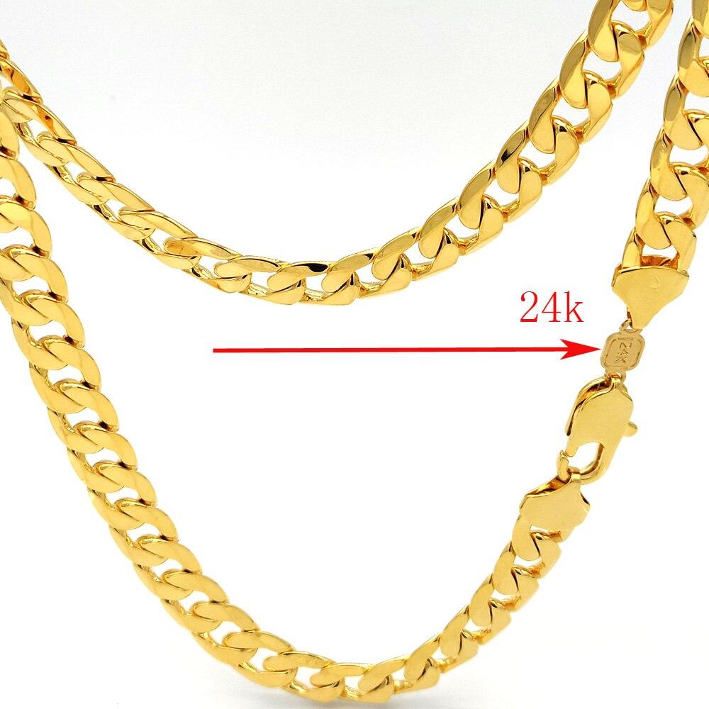 Мужская модель Толстая крупная цепь 24 k звено штампа карат твердое Желтое золото GF ожерелье 600*12 мм тяжелый
