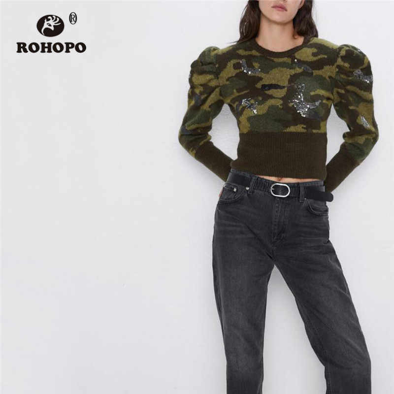 ROHOPO Round Collar Puff Long Sleeve Sweater Camo Dobby Sequined Patchaork Cuff and Hem Crop Tops Pullover Knitted Wear #9285