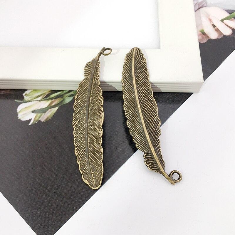 10 шт перьев Подвески 11 мм x 51 DIY ювелирных изделий Кулон Античная бронза цвет|jewelry