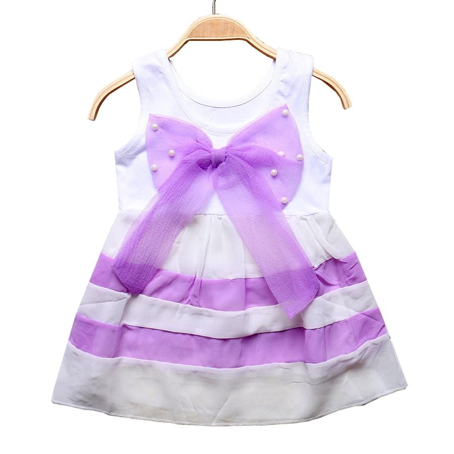 Summer Fashion Baby Girl Dress Clothes Kids Cute Purple Stripe Round Neck Sleeveless Chiffon Dresses Girls Clothing 0-2 Years