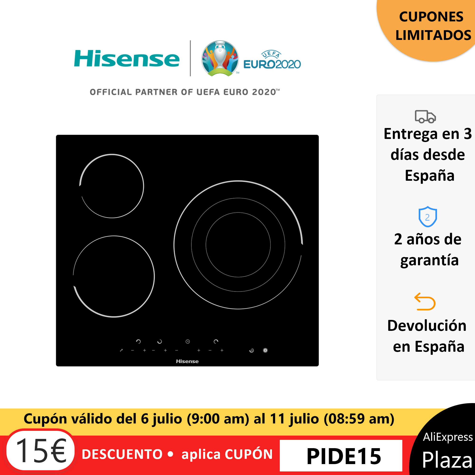 Hisense E6322C ceramic hob top, ceramic glass Panel, 3 Burners, 5700 W, 59 × 6 × 52 cm