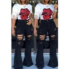 Vrouwen Denim Hoge Taille Flare Jeans Vriendje Geript Calca Jeans Lady Skinny Bell Bottom Jeans Broek Wijde Pijpen Mom Jeans plus Size