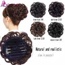Hairpieces Donut-Roller Hair-Bun Flower AOOSOO Clip-In Synthetic-Hair Women No for Headwear