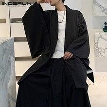 Cárdigan abierto con costura para hombres, gabardina de manga larga suelta, gabardina 2020, abrigos largos sólidos Punk Vintage Chic, capa para hombres, capa, 5XL