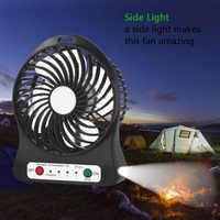 Ventilador portátil, mini ventilador recargable usb con Banco de energía de 2600mAh y luz de Flash, para viajes, pesca, Camping, senderismo, mochilero