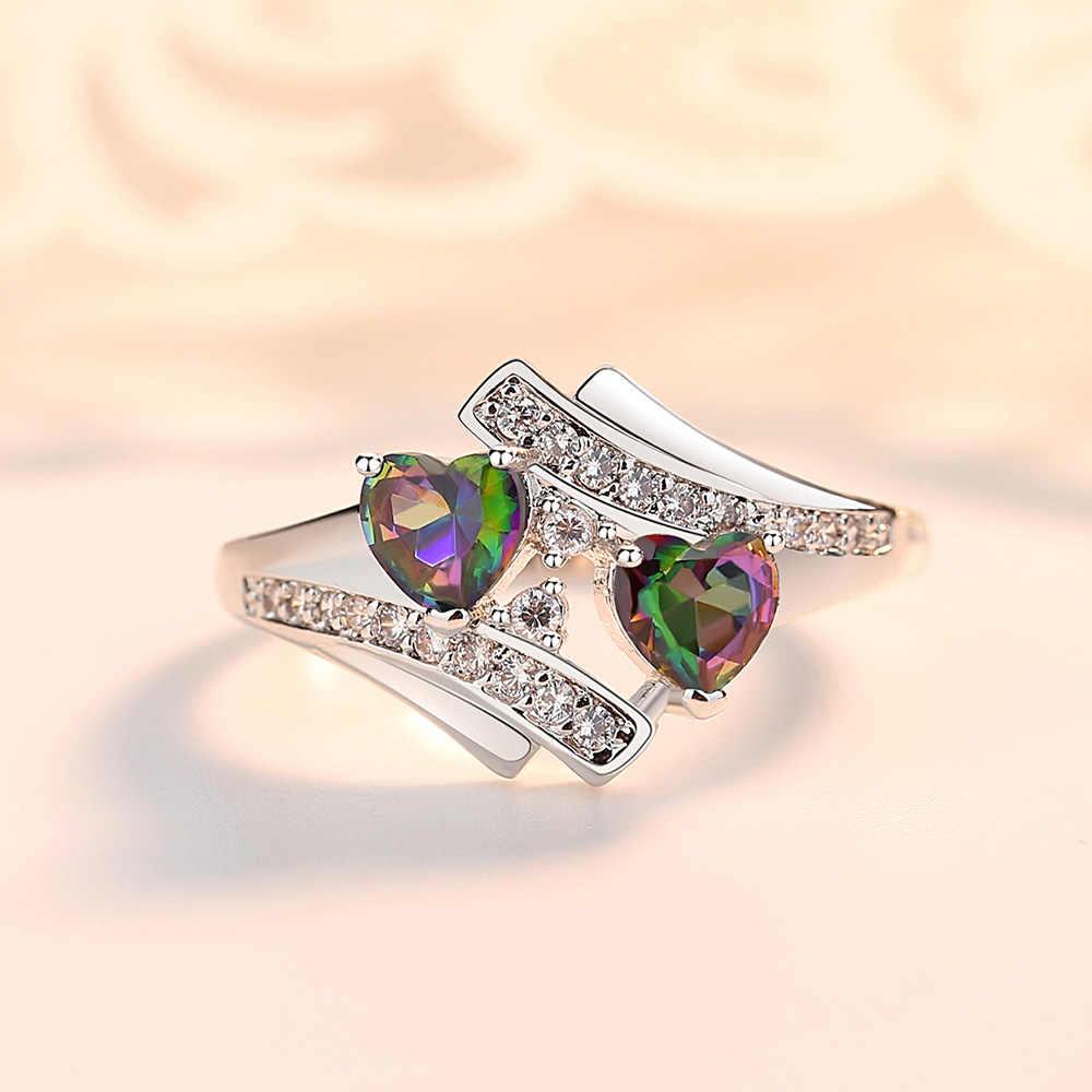 เลดี้รูปหัวใจแหวน Dark Green Rainbow แฟชั่น Zircon Creative ปิดวงกลมโลหะ Golden Boy หยกเครื่องประดับของขวัญ