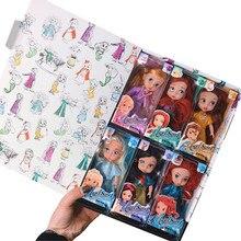 Juego de 6 muñecas de princesa sirena blanca como la nieve, muñecas de cabello largo, muñecas de juguete con campanas para niños, regalos de cumpleaños