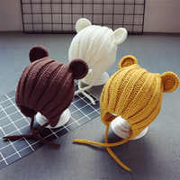 Gorro cálido de invierno para bebé recién nacido, gorro de punto para bebé con orejas de oso, gorra con cordones de dibujos animados para niño de 1 a 3 años