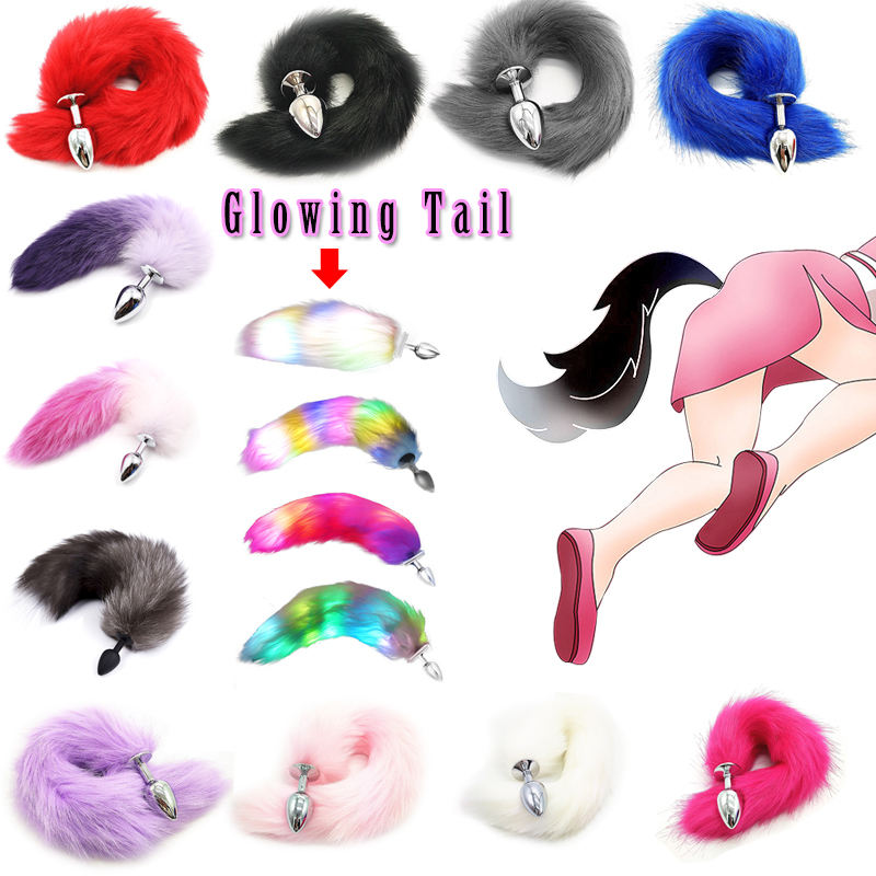 Adult Butt Plug Stainless Steel Faux Fox Tail Sex Toy Anal Prostate Massager Anal Plug Insert Stopper BDSM For Women