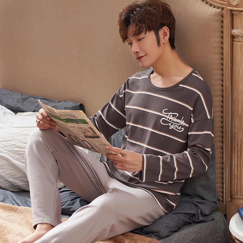 2020 New Fashion Style Homeclothes Homesuit Sleepwear Men Pajama Crew Neck Plus Size Men Loungewear Letter Printing Stripe