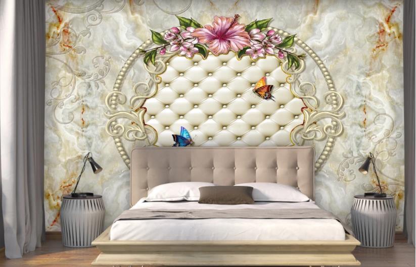 Decor A La Maison Papier Peint Motif Europeen Sac Souple En Marbre Lys Papier Peint Pour Chambre Salon Moderne