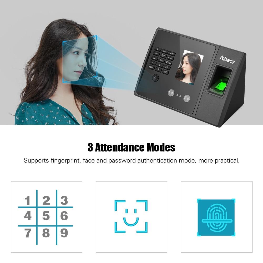 Aibecy Biometric Fingerprint Time Attendance Machine with HD Display Screen Support Face Fingerprint Password Multi-language