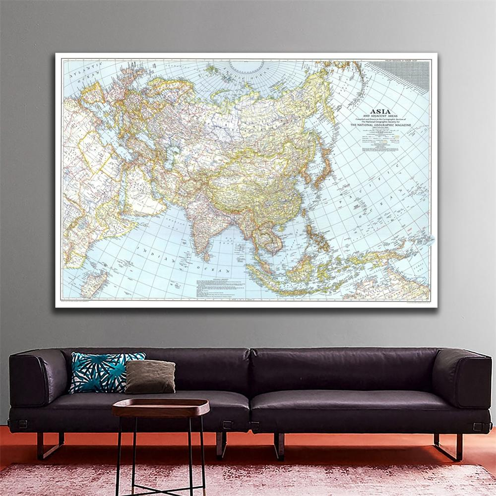 A1 Size Vinyl Spray Painting Fine Canvas Wall Map Of Asia And Adjacent Areas For History And Geographic Research