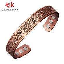 OKtrendy Reinem Kupfer Magnet Armreif Für Frauen Bio Energie Carving Manschette Armband Männlich Unisex Vintage Einstellen Armreifen Therapie Schmuck
