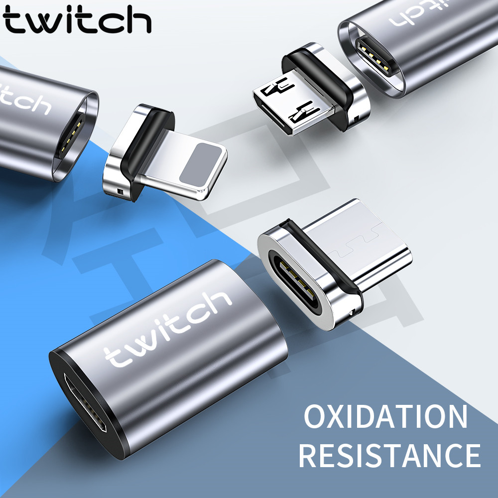 Twitch Magnetic Micro USB Adapter For IPhone Samsung Xiaomi Micro USB Female To Type C Male Cable Magnet Converters Connector