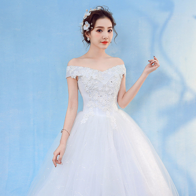 HMHS-090#White Boat Neck Bride Wedding Dress Ball Gown Lace Up Wholesale Party Dresses Luxury Sequins Free delivery some country 5