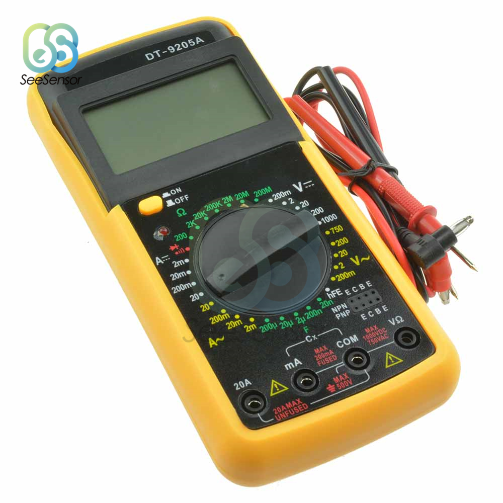 DT9205A LCD Professional Handheld Elétrica Multímetro Digital Amperímetro Voltímetro Capacitância Resistência Tester AC DC