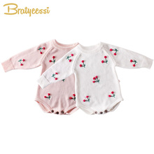 3D Cherry Baby Romper for Girls Clothes Cotton Knit Infant Onesie Baby Jumpsuit Toddler Costume New Born Baby Girl Rompers цены онлайн