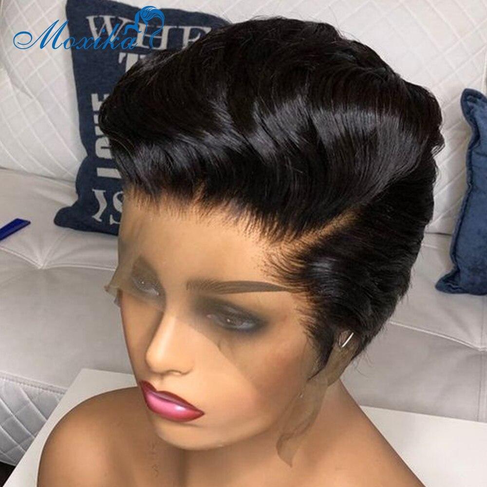Peluca de encaje Frontal de corte Pixie para mujer, peluca brasileña, encaje marrón, corto por delante, pelucas de cabello humano 150% Remy, peluca recta