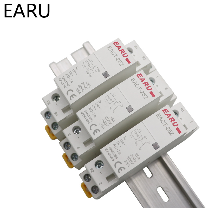 H76860de8bafe46f9bc6eba9a3fb274b6A - EACT-25Z DC 12V 24V 2P 16A 25A 1NO 1NC 2NO 2NC Contact Din Rail Household DC Modular Contactor Switch for Smart Home House Hotel