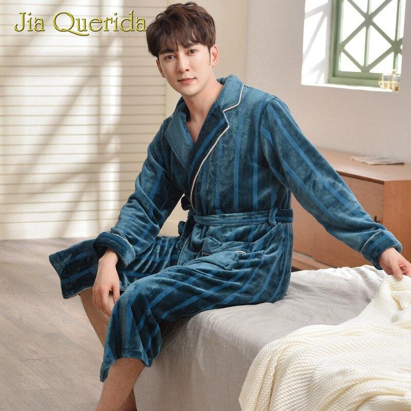 Men's Robe Warm Flannel In Winter Turn-down Collar Long Sleeves Luxury Dark Green Striped Comfort Home Wear Bathrobes For Men