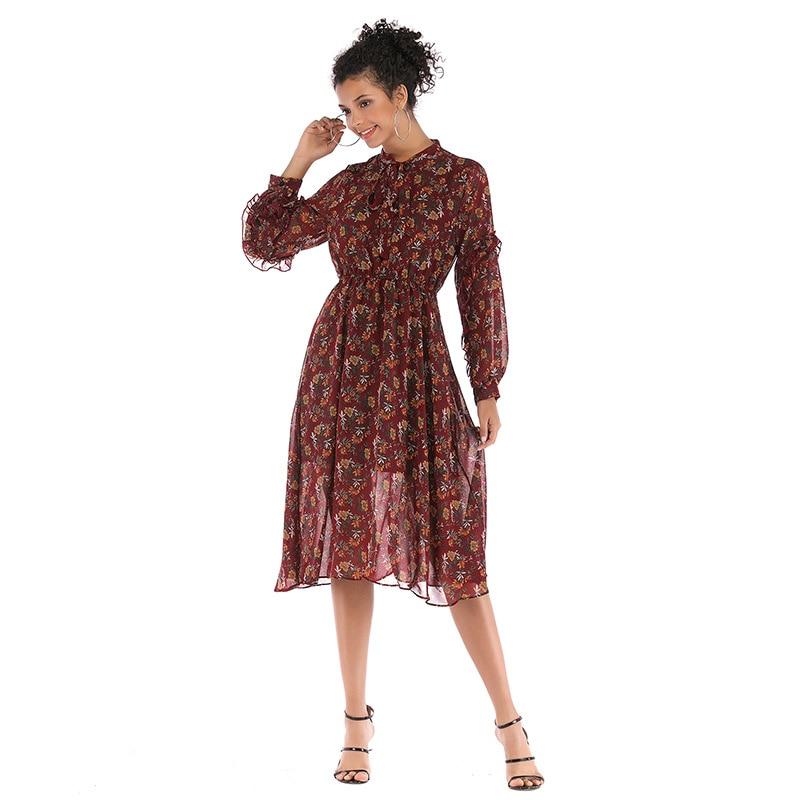 Boho Style Fleurs Robe de Plage Imprimé Femmes Automne Manches Longues décontracté Robes