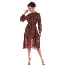 Boho Style Flowers Print Beach Dress Women Autumn Long Sleeves Casual Shift Dresses